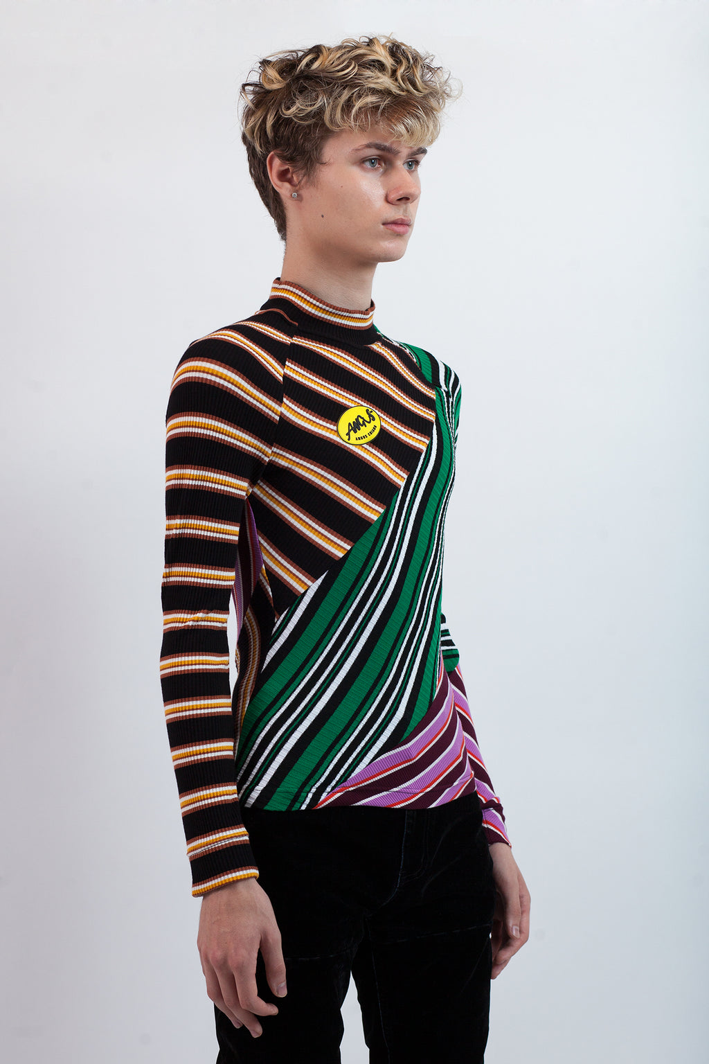 Splices & Stripes Mock Neck
