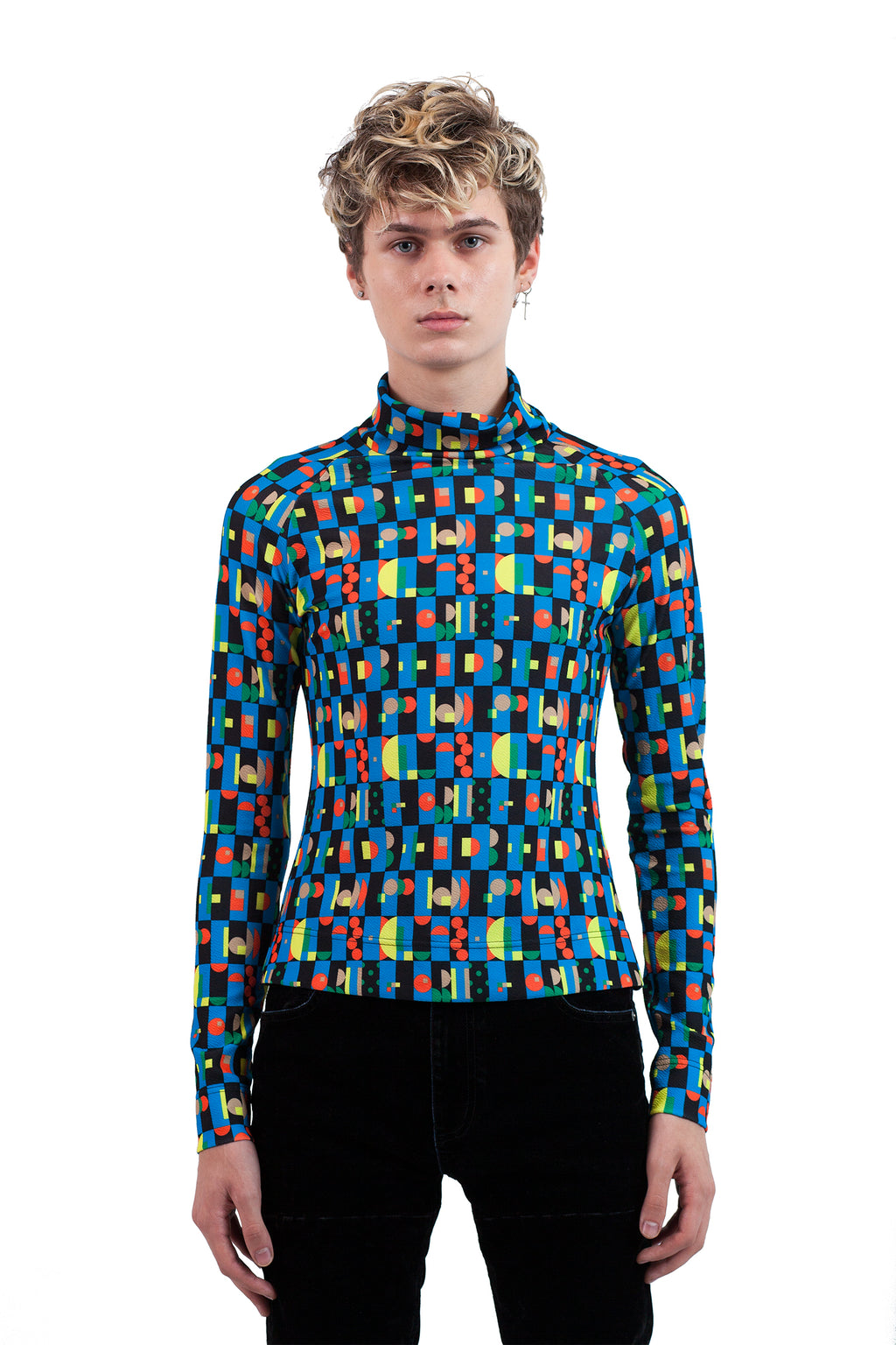 Geometric Pattern Turtleneck