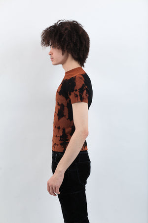 Tie Dye Mockneck - Black/Brown
