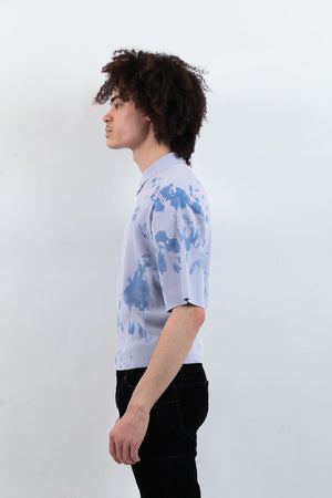 Tie Dye Knit Polo - Blue