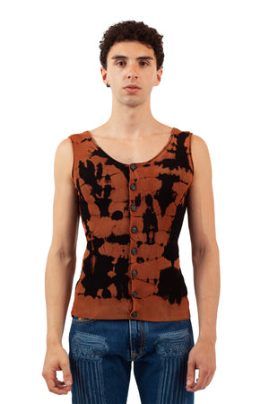 Tie-Dye Cardigan Tank - Black/Brown