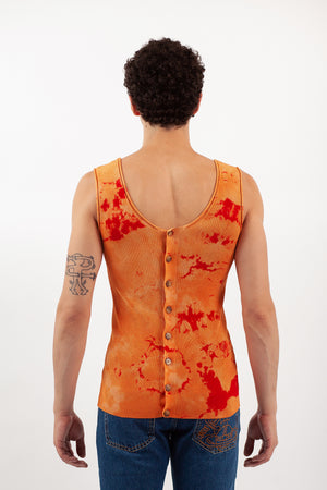 Tie-Dye Cardigan Tank - Orange/Red