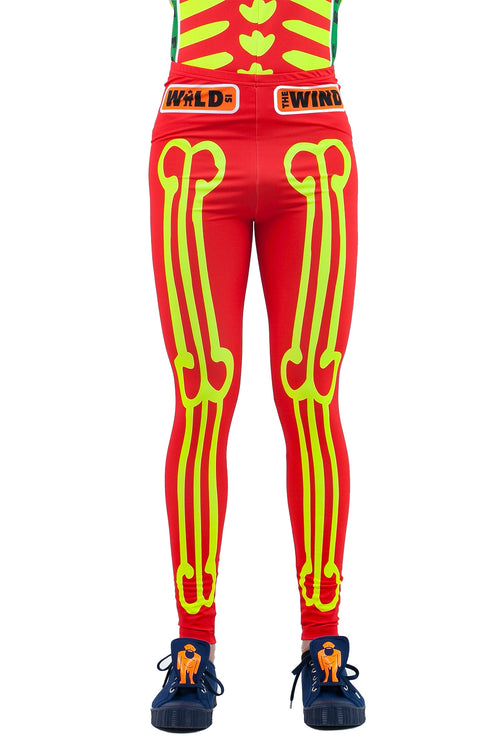 Skeleton Bike Leggings - Red