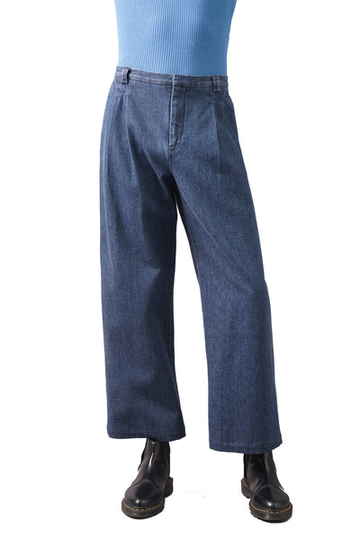 Denim Pleat Trousers