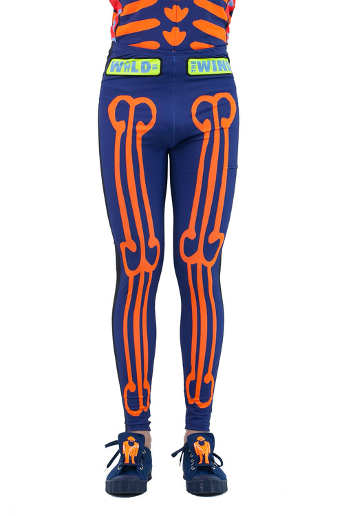 Skeleton Bike Leggings- Blue
