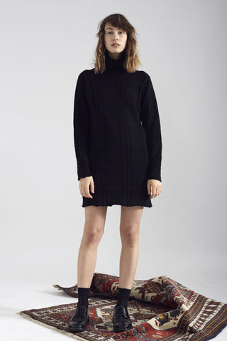 Tartan Knit Dress - Black