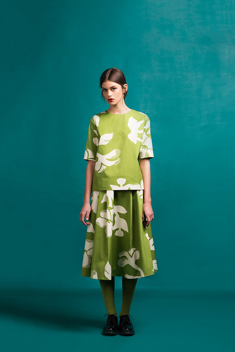 LFS PERIDOT PRINTED BLOUSE - PERIDOT PRINTED SKIRT WITH GOLDEN SIDE BUTTONS