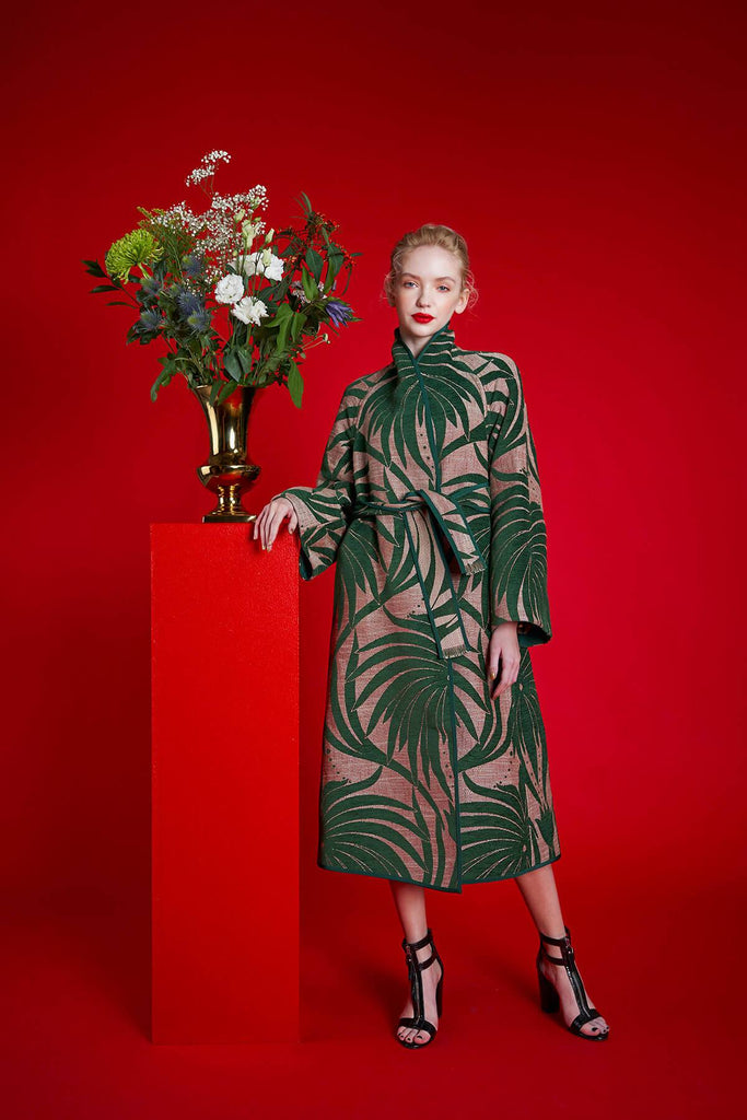 Longing For Sleep by Marit Ilison 2020 Holiday Collection Green Linen Chenille Jacquard Reversible A-Line Coat Front