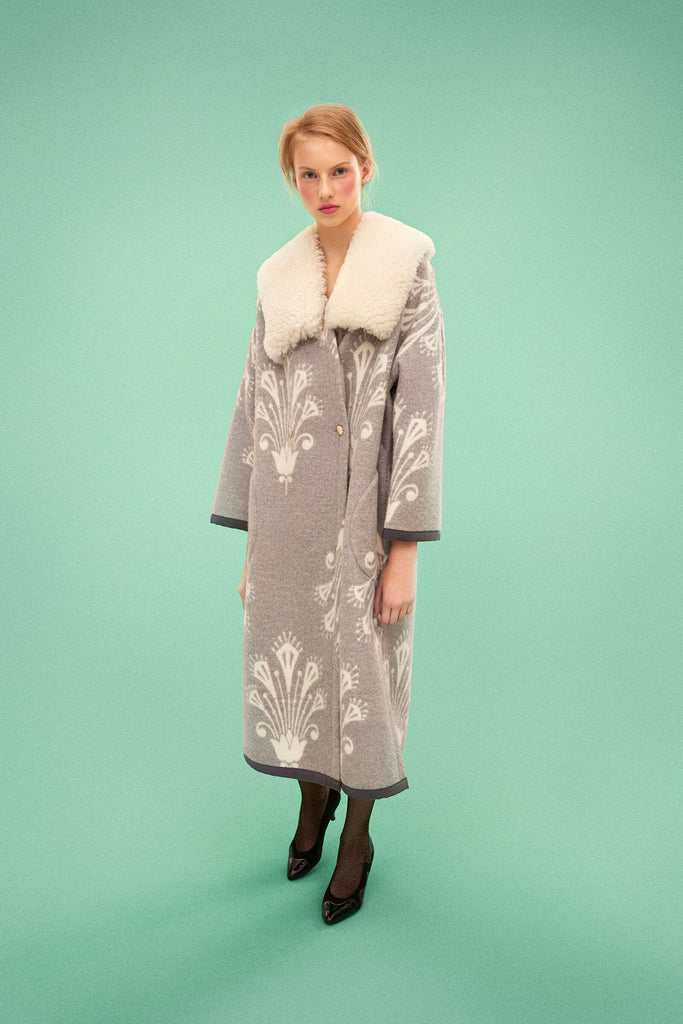 Longing For Sleep by Marit Ilison 2019 Collection 2 Woolen Reversible Buttoned Long Coat with Removable Sheepskin Collar Grey White