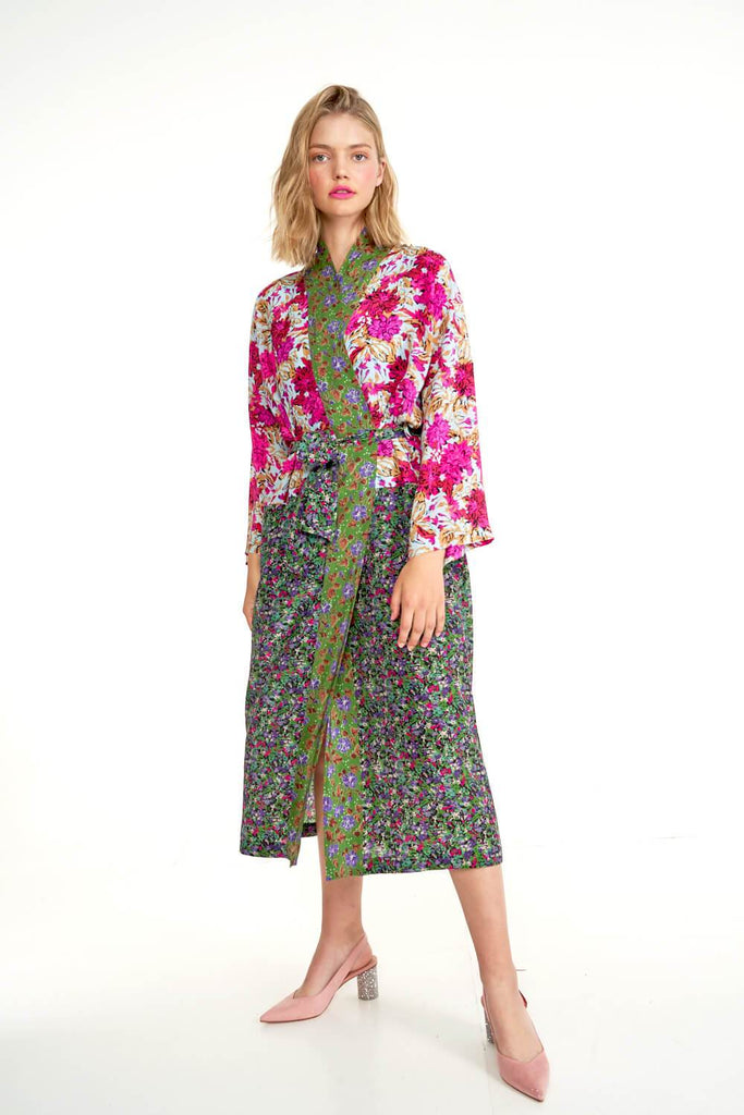 Longing-For-Sleep-by-Marit-Ilison-2020-Collection-1-Mixed-Print-Silk-Kimono-In-Floral-Front