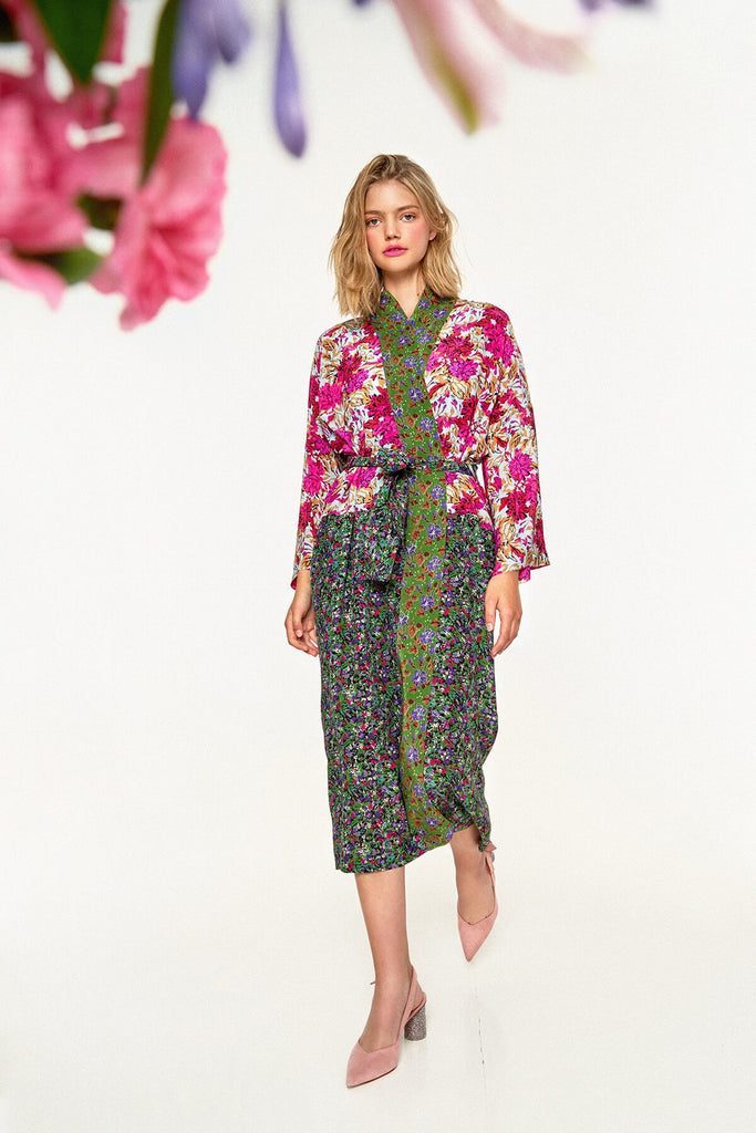 Longing-For-Sleep-by-Marit-Ilison-2020-Collection-1-Mixed-Print-Silk-Kimono-In-Floral