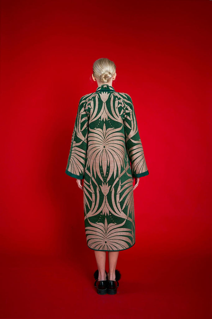 Longing For Sleep by Marit Ilison 2020 Holiday Collection Green Linen Chenille Jacquard Reversible A-Line Coat Reversed Back