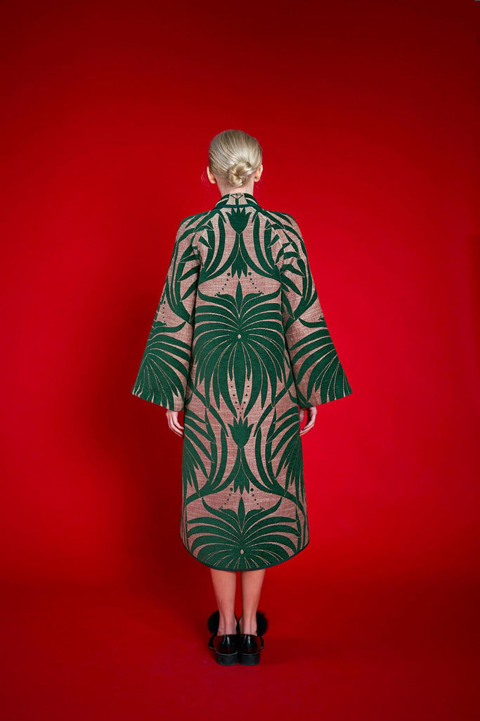 Longing For Sleep by Marit Ilison 2020 Holiday Collection Green Linen Chenille Jacquard Reversible A-Line Coat Back