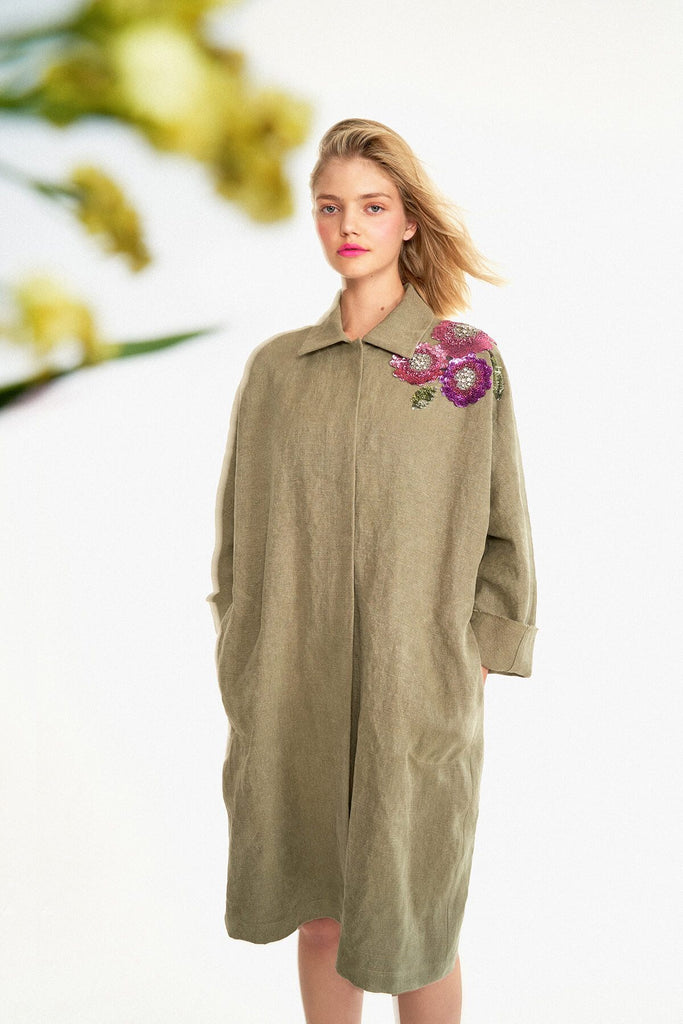 Longing-For-Sleep-by-Marit-Ilison-2020-Collection-1-Embellished-Linen-Manor-Coat-In-Vison