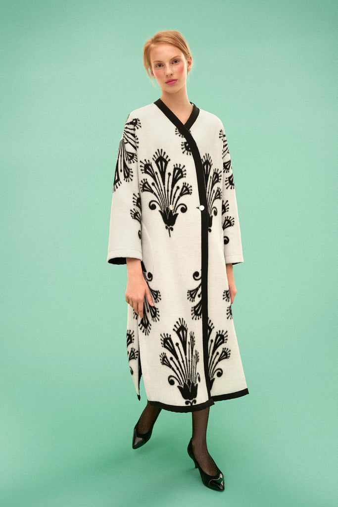 Longing For Sleep by Marit Ilison 2019 Collection 2 Reversible Buttoned Long Coat Wool Black White Aurea