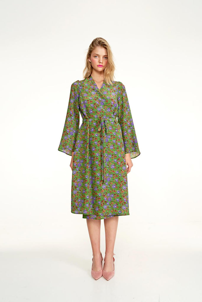 Longing-For-Sleep-by-Marit-Ilison-2020-Collection-1-Midi-Silk-Wrap-Dress-In-Cranesbill-Green-Front