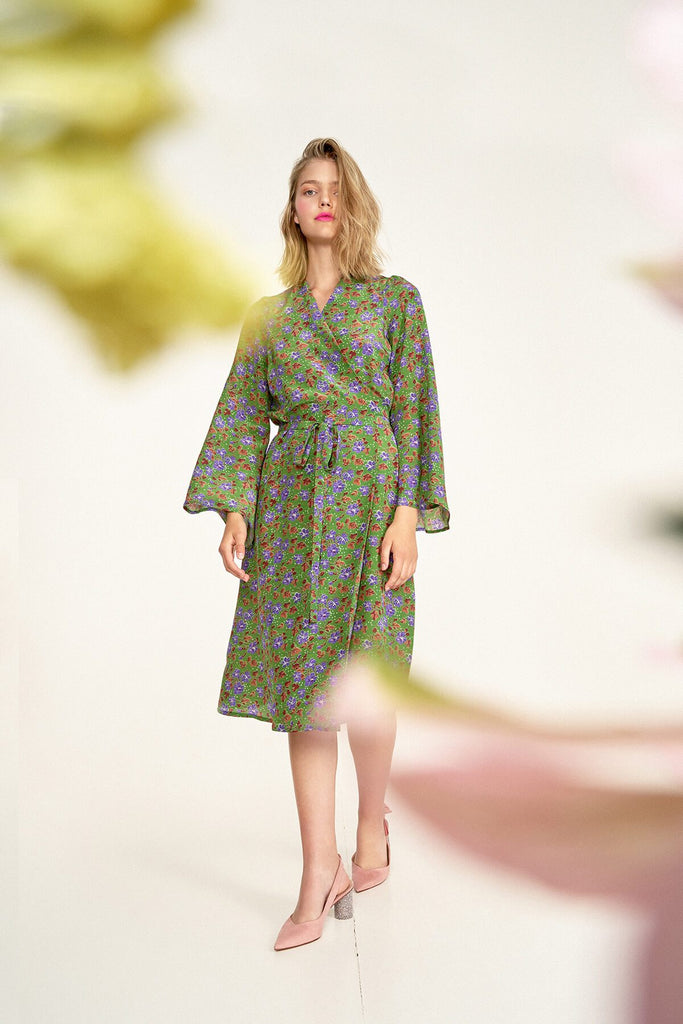 Longing-For-Sleep-by-Marit-Ilison-2020-Collection-1-Midi-Silk-Wrap-Dress-In-Cranesbill-Green