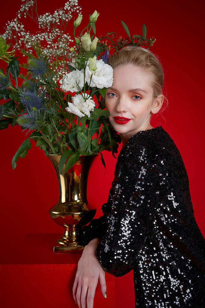 Longing For Sleep by Mart Ilison 2020 Holiday Collection Black Velvet Sequin Dress Close up