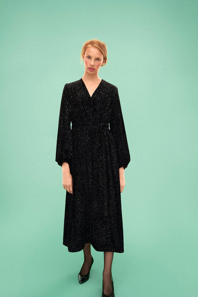 Longing For Sleep by Marit Ilison 2019 Collection 2 Black Glitter Long Sky Velvet Wrap Dress