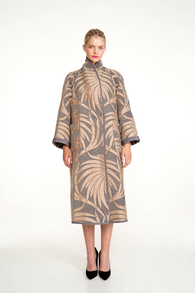 Embroidered Chenille Jacquard Reversible A-Line Coat
