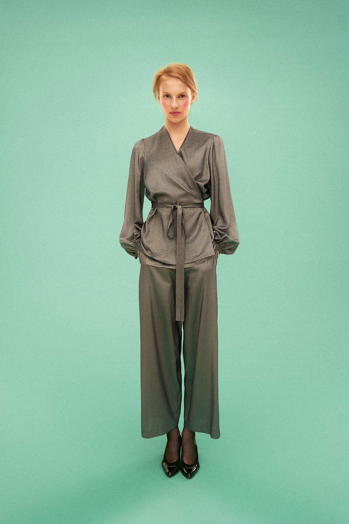 Longing For Sleep by Marit Ilison 2019 Collection 2 Metallic Silver Silk Wrap Blouse and Trousers