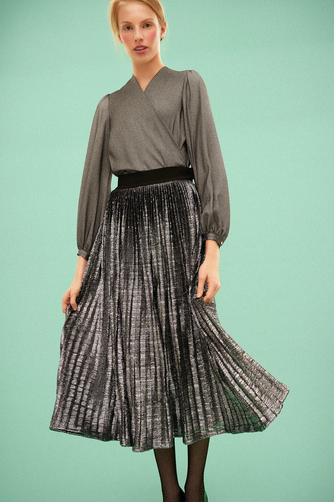 Longing For Sleep by Marit Ilison 2019 Collection 2 Metallic Silk Wrap Blouse and Embroidered Silver Plisse Skirt