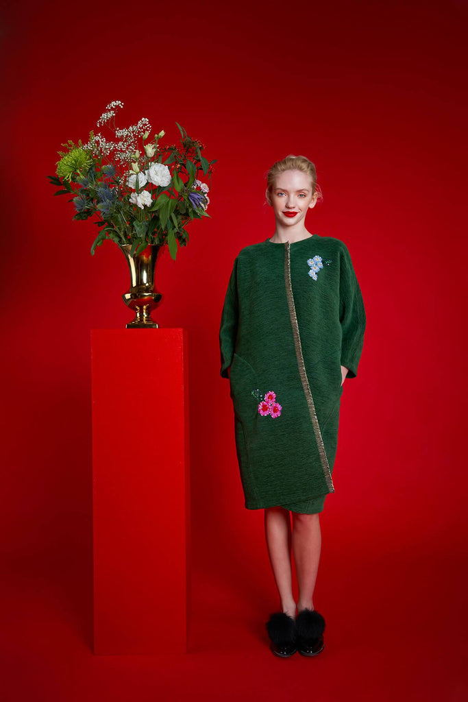 Longing For Sleep by Marit Ilison 2020 Holiday Collection Green Embroidered Reversible Classic Coat Front
