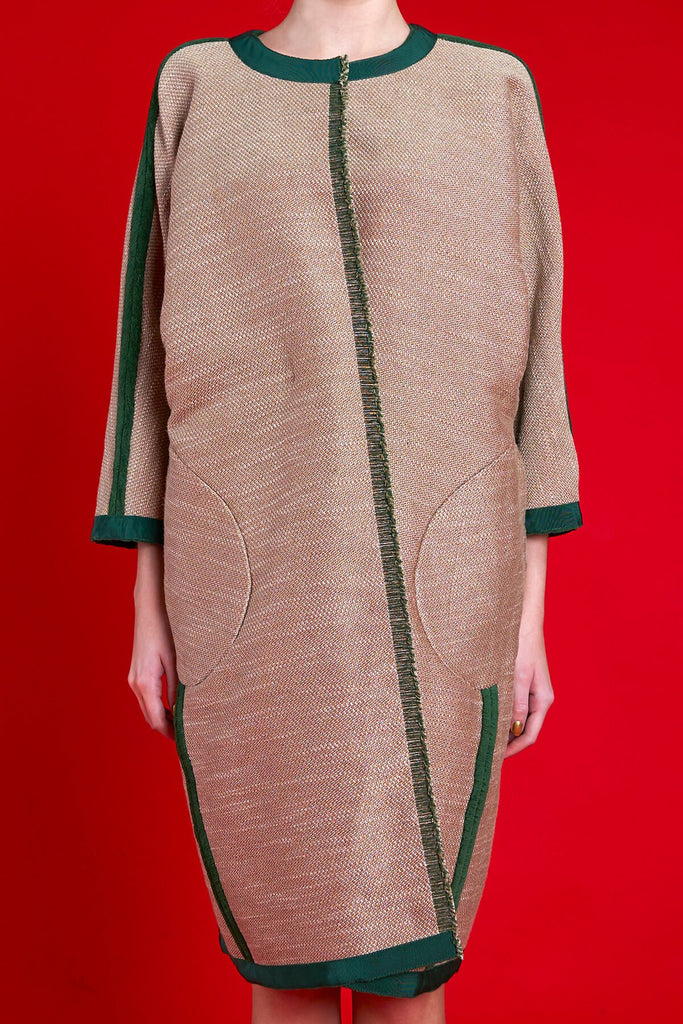 Longing For Sleep by Marit Ilison 2020 Holiday Collection Green Embroidered Reversible Classic Coat Reversed Front Crop