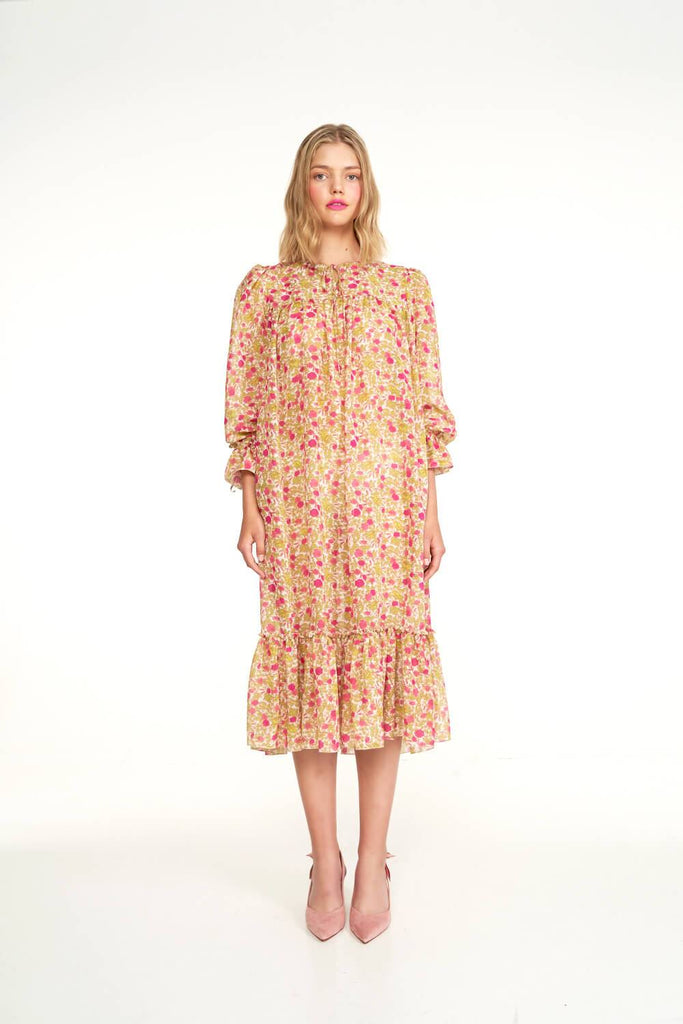 Longing-For-Sleep-by-Marit-Ilison-2020-Collection-1-Silk-Boho-Dress-In-Vintage-Humulus-Rose-Front