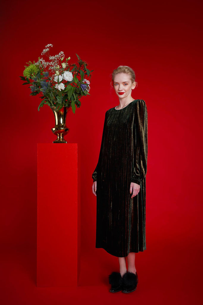 Longing For Sleep by Mart Ilison 2020 Holiday Collection Green Golden Velvet Pearl Collar Dress