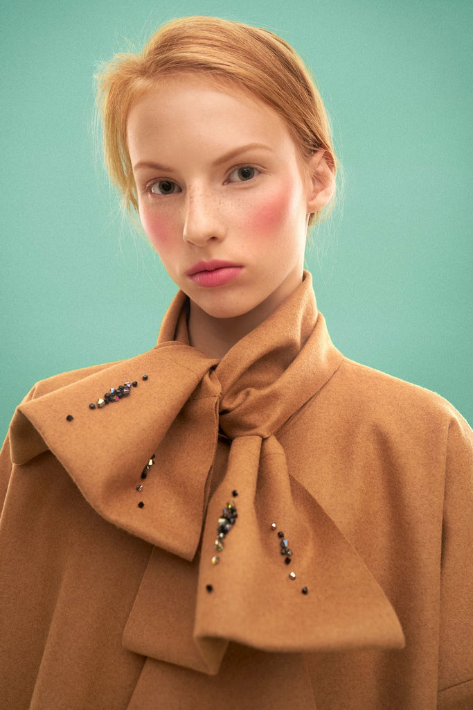 Woolen Embroidered Bow Coat