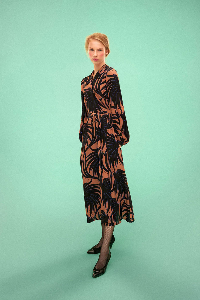 Longing For Sleep by Marit Ilison 2019 Collection 2 Beige Black Long Printed Silk Wrap Dress Waterlily
