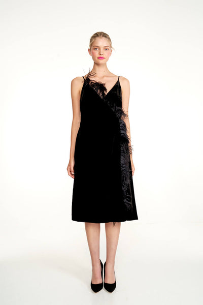 Velvet Feather Slip Dress