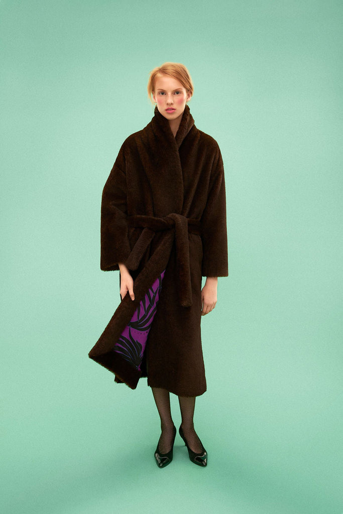 Longing For Sleep by Marit Ilison 2019 Collection 2 Brown Woven Faux Fur Reversible Robe Coat Alpaca Mohair Cotton Silk Lining
