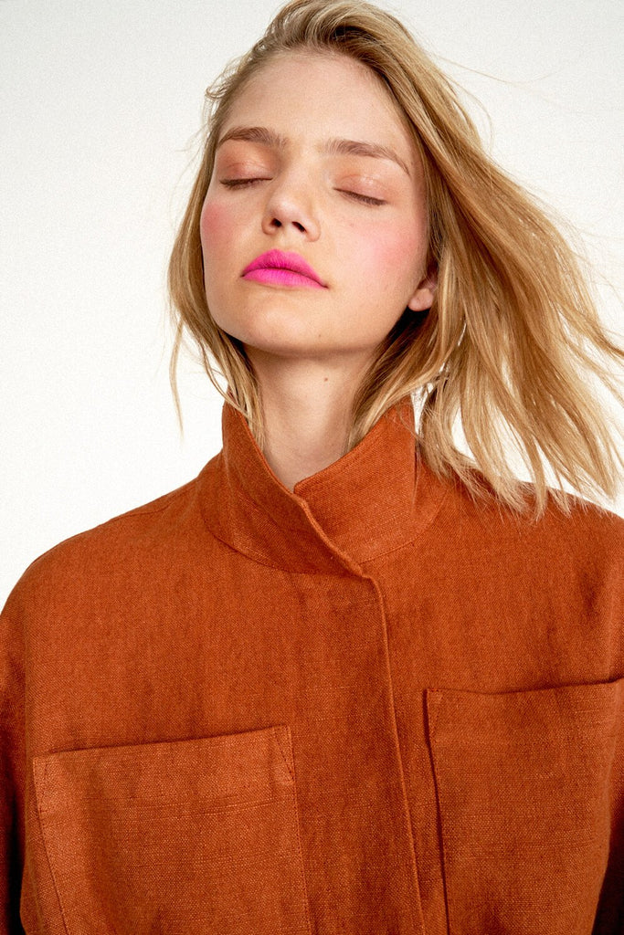 Longing-For-Sleep-by-Marit-Ilison-2020-Collection-1-Embroidered-Linen-Jacket-and-Cropped-Linen-Cargo-Trousers-In-Rust-Close-Up