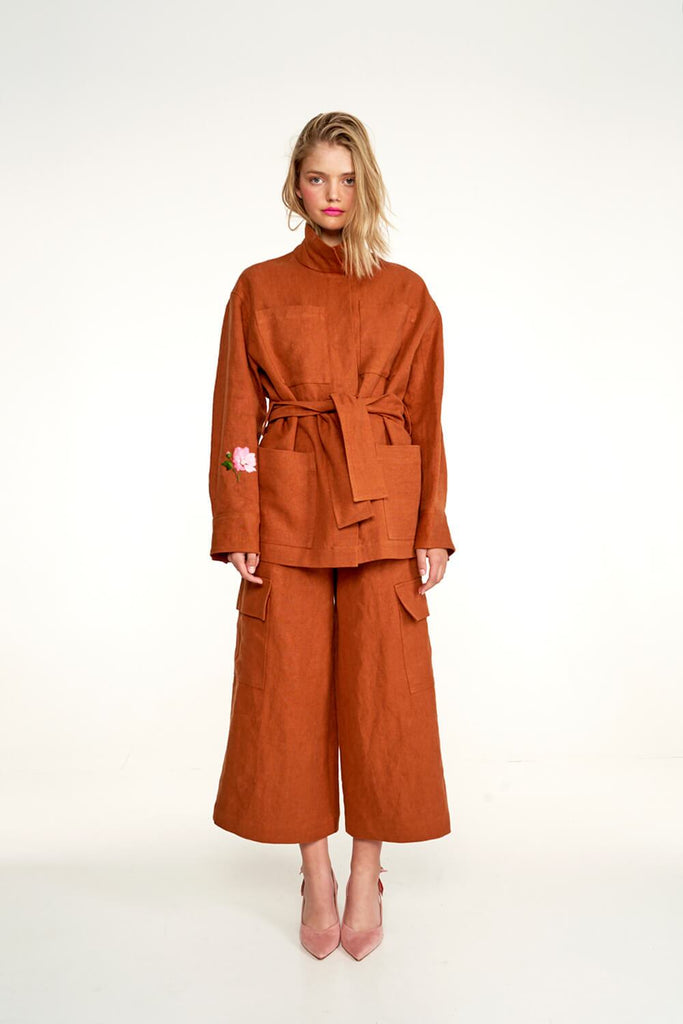 Longing-For-Sleep-by-Marit-Ilison-2020-Collection-1-Embroidered-Linen-Jacket-and-Cropped-Linen-Cargo-Trousers-In-Rust-Front
