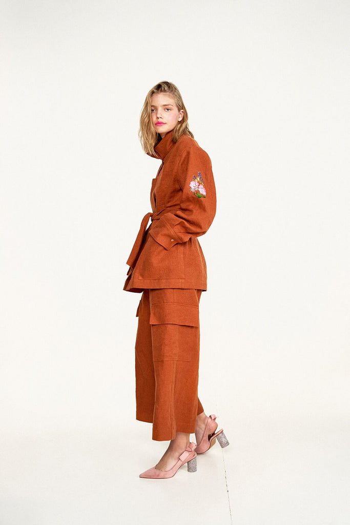 Longing-For-Sleep-by-Marit-Ilison-2020-Collection-1-Embroidered-Linen-Jacket-and-Cropped-Linen-Cargo-Trousers-In-Rust