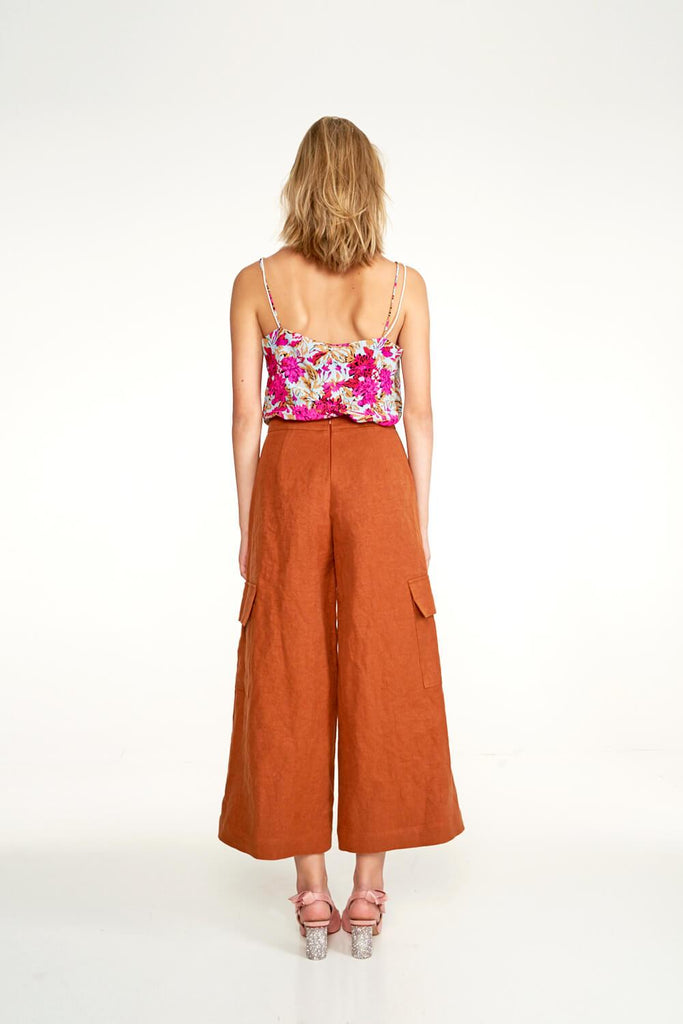 Longing-For-Sleep-by-Marit-Ilison-2020-Collection-1-Pearl-Slip-Top-In-Vintage-Light-Peonies-and-Cropped-Linen-Cargo-Trousers-In-Rust-Back