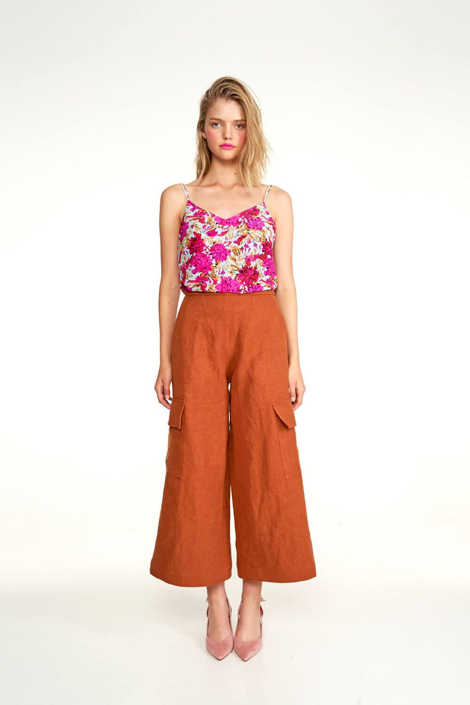 Longing-For-Sleep-by-Marit-Ilison-2020-Collection-1-Pearl-Slip-Top-In-Vintage-Light-Peonies-and-Cropped-Linen-Cargo-Trousers-In-Rust-Front