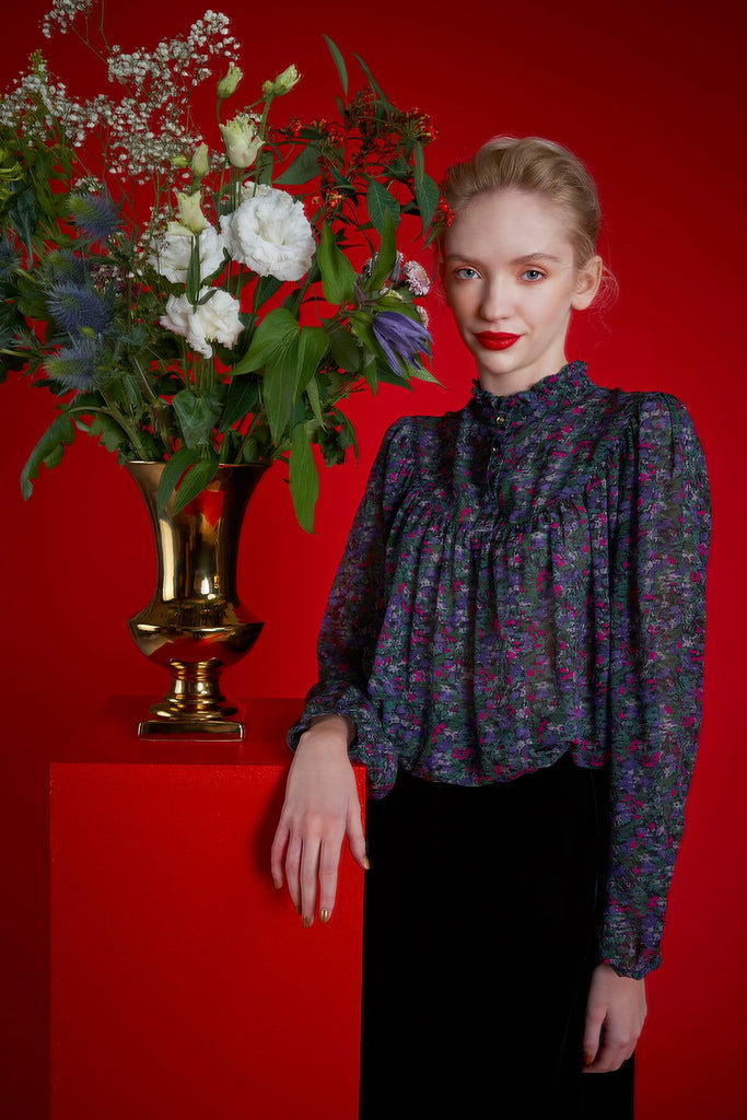 Longing For Sleep by Marit Ilison 2020 Holiday Collection Vintage Meadow Printed Silk Blouse