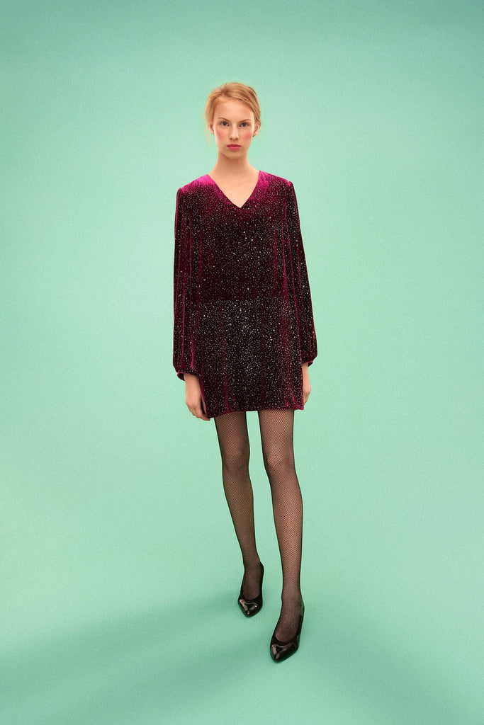 Longing For Sleep by Marit Ilison 2019 Collection 2 Mure Glitter A-Line Sky Velvet Dress