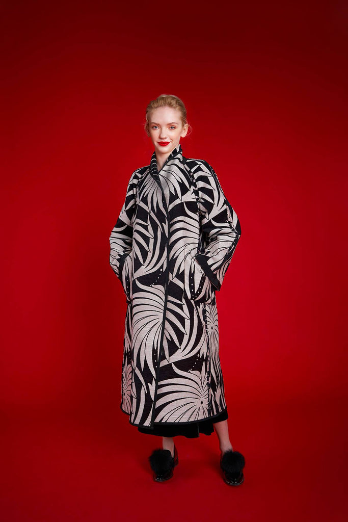 Longing For Sleep by Marit Ilison 2020 Holiday Collection Black White Chenille Jacquard Reversible A-Line Coat Reversed Front