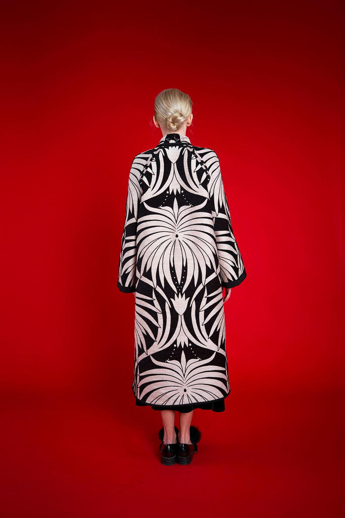 Longing For Sleep by Marit Ilison 2020 Holiday Collection Black White Chenille Jacquard Reversible A-Line Coat Reversed Back