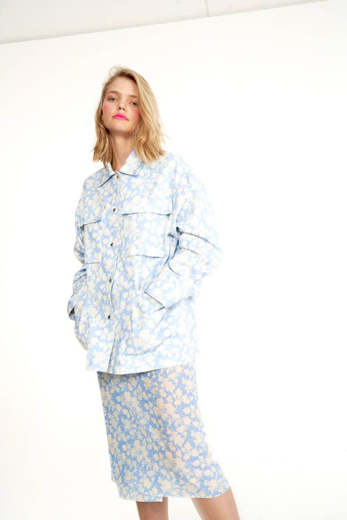 Longing-For-Sleep-by-Marit-Ilison-2020-Collection-1-Printed-Cotton-Work-Jacket-In-Cranesbill-Blue-and-Midi-Silk-Wrap-Skirt