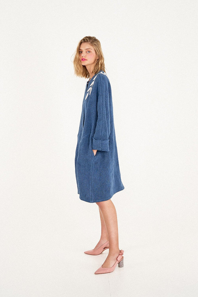 Longing-For-Sleep-by-Marit-Ilison-2020-Collection-1-Pearl-Embroidered-Linen-Coat-in-Indigo