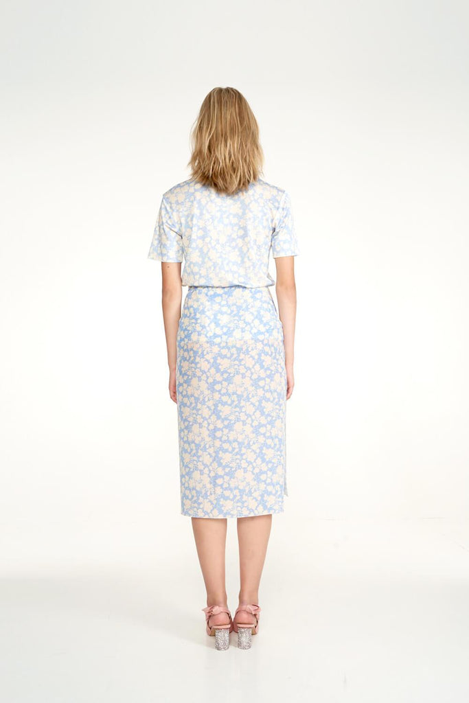 Longing-For-Sleep-by-Marit-Ilison-2020-Collection-1-Printed-Cotton-Work-Jacket-In-Cranesbill-Blue-and-Midi-Silk-Wrap-Skirt-Back
