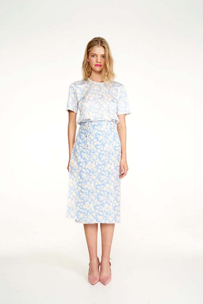Longing-For-Sleep-by-Marit-Ilison-2020-Collection-1-Printed-Cotton-Work-Jacket-In-Cranesbill-Blue-and-Midi-Silk-Wrap-Skirt-Front