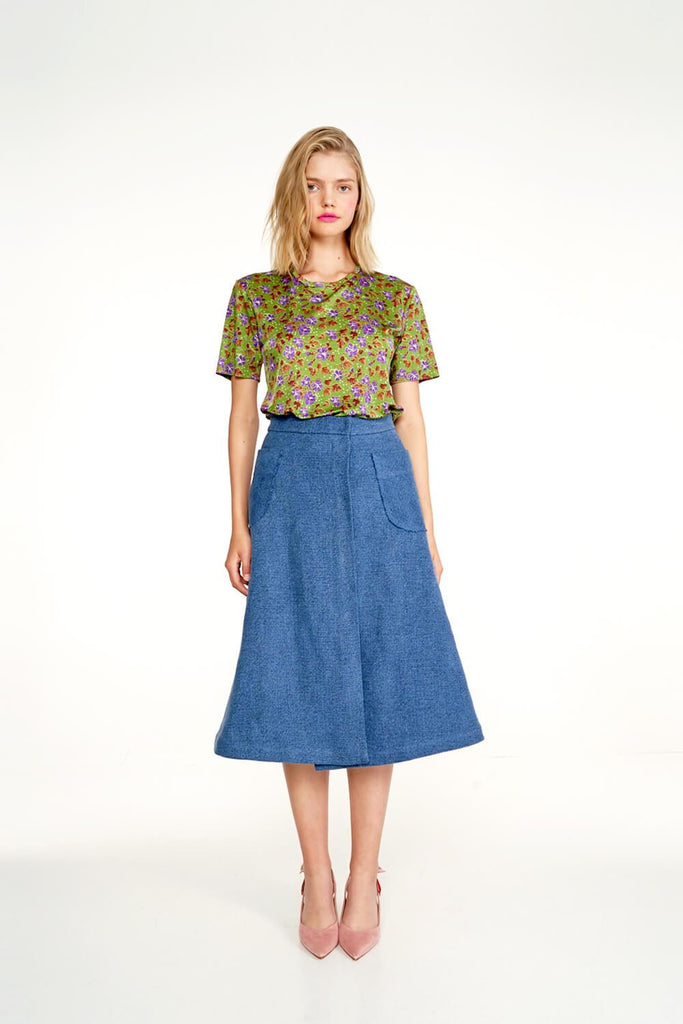 Longing-For-Sleep-by-Marit-Ilison-2020-Collection-1-Printed-Viscose-T-Shirt-In-Cranesbill-Green-and-Linen-A-Line-Skirt-In-Indigo-Front