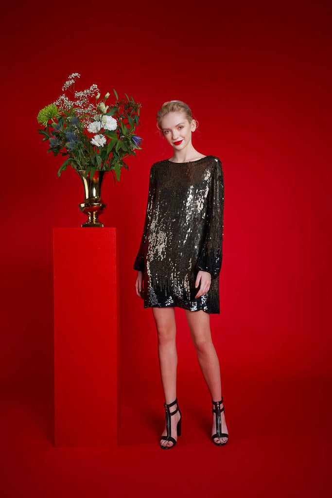 Longing For Sleep by Mart Ilison 2020 Holiday Collection Golden Sequin Dress
