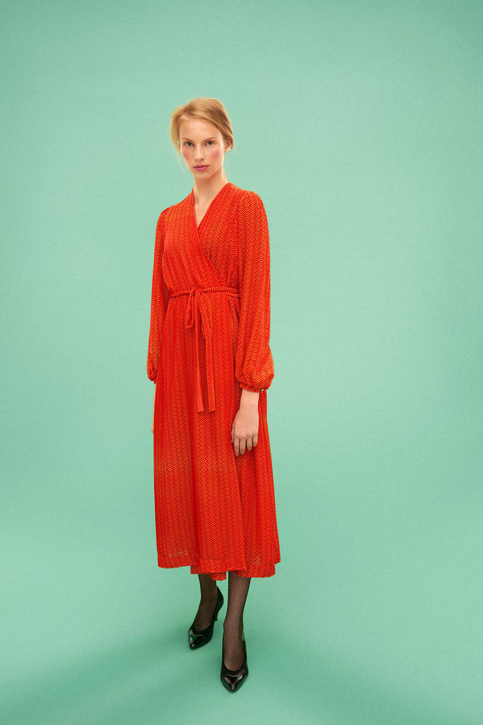 Longing For Sleep by Marit Ilison 2019 Collection 2 Orange Yellow Long Devore Velvet Wrap Dress